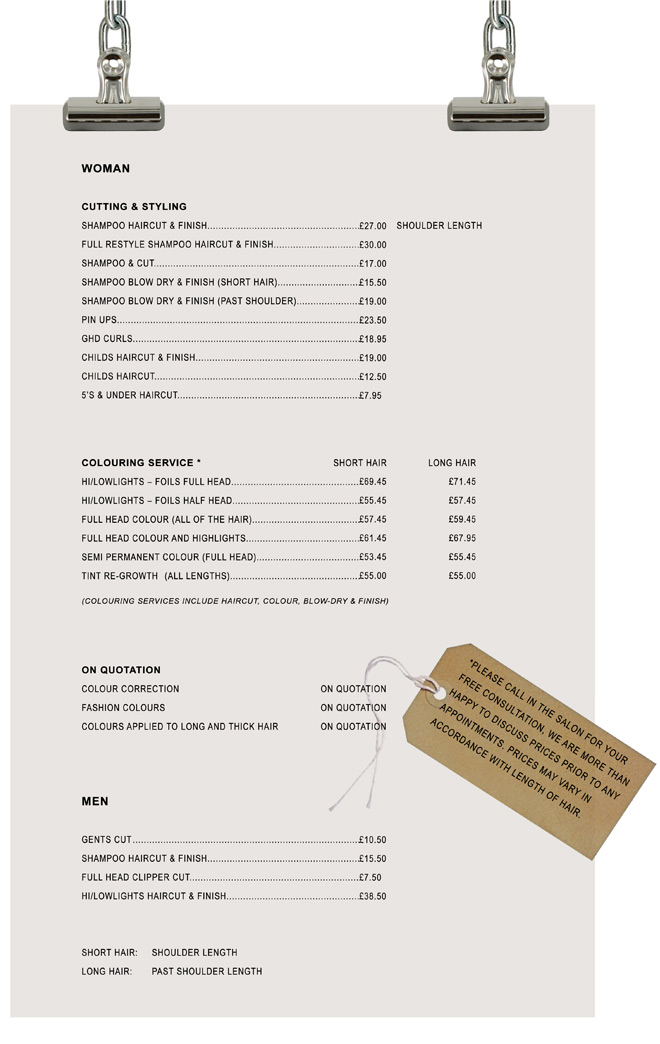 Prices Fuze Salons